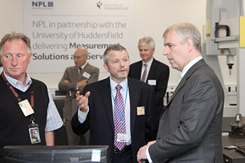 HRH The Duke of York tours the NPL laboratory at the University of Huddersfield
