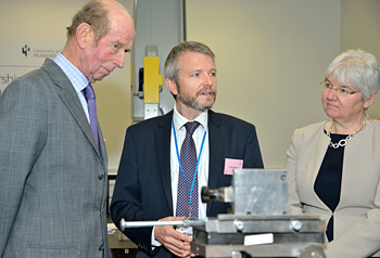 NPL's Huddersfield Laboratory Manager Andy Morris welcomes The Duke of Kent at the presentation of the University of Huddersfield's Queen's Awards with the University's Director of Research, Professor Liz Towns-Andrews.