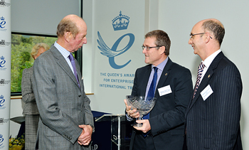 The Duke of Kent presents the Queen's Awards for International Trade to the University of Huddersfield's Professor Dave Taylor and Professor Chris Cowton.
