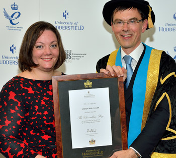 Jessica Cutler, top midwifery graduate at the University of Huddersfield, with Pro Vice-Chancellor (Teaching and Learning), Professor Tim Thornton