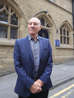 Sir Patrick Stewart outside of the building