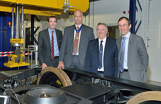 l-r IRR Assistant Director Dr Paul Allen, IMechE Rail Division Chairman Richard East, The University Vice-Chancellor Professor Bob Cryan and the IRR Director Professor Simon Iwnicki