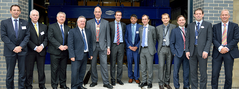 (l-r) David Clarke (RIA), Chris Lawrence (RSSB), Steve Ingelton (Unipart Rail), The University's Vice-Chancellor Professor Bob Cryan, IMechE Railway Division Chairman Richard East, IRR Assistant Director Dr Paul Allen, Stirling Kimkeran (Omnicom), IRR Director Professor Simon Iwinicki and IRR managers Dr Yann Bezin, Dr Adam Bevan, Julian Stow and Dr Coen Van Gulijk.