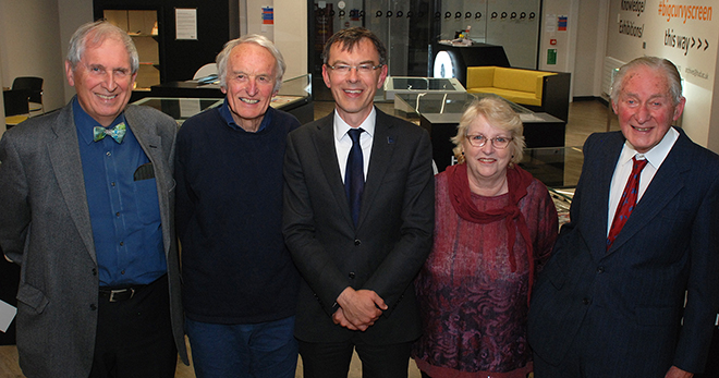 The University's Deputy Vice-Chancellor, Professor Tim Thornton (centre) welcomes Society members to Heritage Quay (l-r) Gerrie Brown, David Cockman, Jo Heron, Edward Vickerman