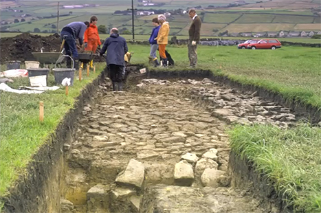 Society members excavating the Roman road which ran between the forts at Slack and Castleshaw over the Pennines